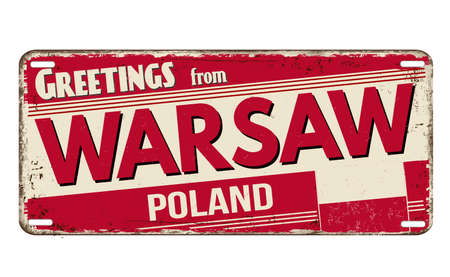Illustration pour Greetings from Warsaw vintage rusty metal plate on a white background, vector illustration - image libre de droit
