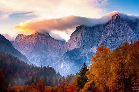 Photo pour Triglav mountain peak at sunrise - image libre de droit