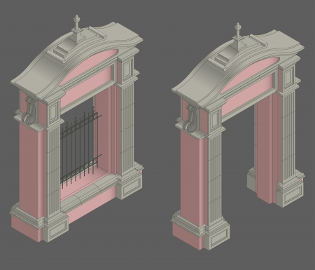 Vector isometric stone Gate portal with shadow