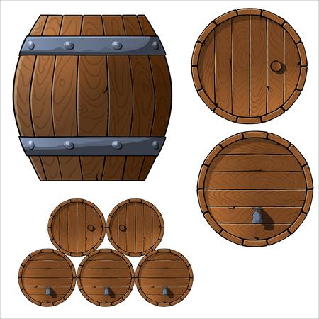 Illustration pour Set of wooden barrels. Vector illustration. top view, front view, game asset - image libre de droit