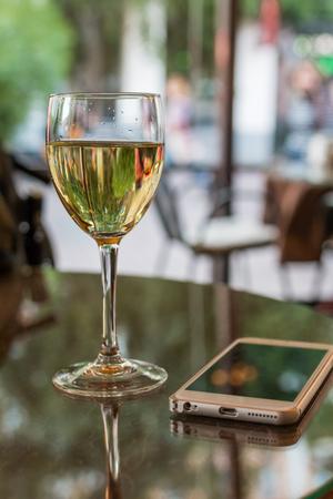 glass of wine in restaurant
