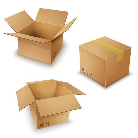 Illustration pour brown box pack set vector ill - image libre de droit