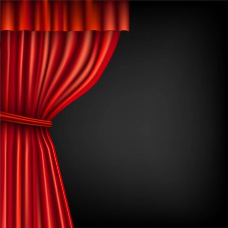 Illustration for red theater curtain on the dark - Royalty Free Image