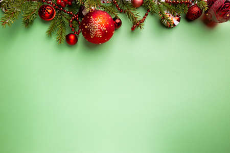 Photo pour Christmas holidays composition on green background with copy space for your text - image libre de droit