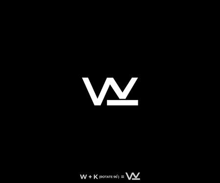 Illustration pour letter WK or KW urban style vector icon logo design - image libre de droit