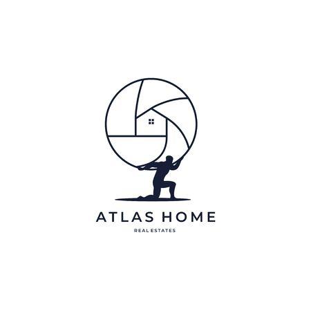 Illustration pour Atlas home global marketing real estate housing  creative symbol logo icon concept. Real estate agency business logo idea. Home interior. Company identity logotype design tamplate - image libre de droit