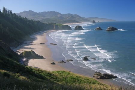 Crescent Beach at Ecola State Park, Oregon - Cannon Beach and Haystack Rock in distance
