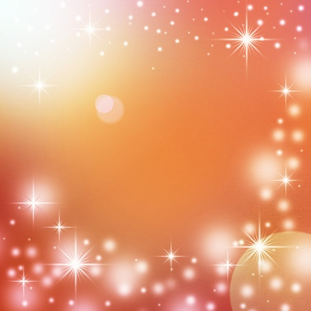 red christmas background with white snowflakes, sparkles and empty space for text