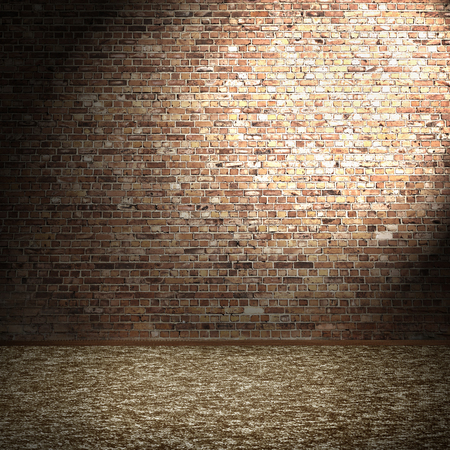 brick wall and carpet floor, empty room interior background and spot light in the cornetの写真素材