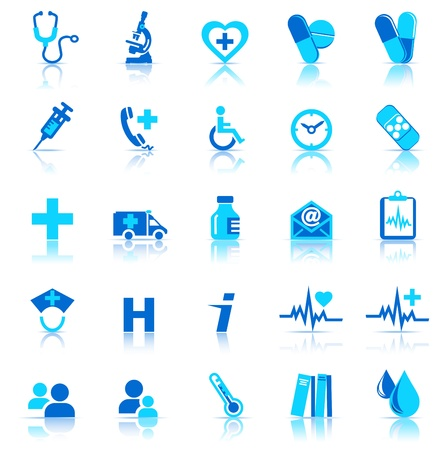 Photo for Medical Icons with reflection - Royalty Free Image