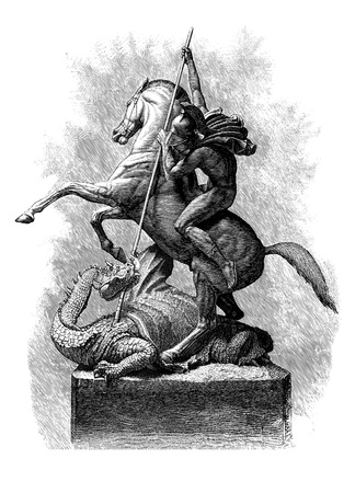 St George and the Dragon, Line Engraving, Created in 1879, after the Sculpture by J  E  Boehm A R A