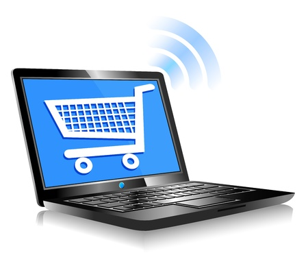 Shopping on the Internet - Concept icon computer shopping on the web