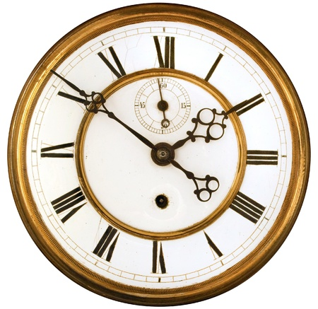 Vintage Victorian Old Clock Face with Roman Numerals