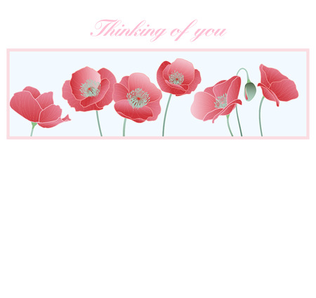 Thinking of you Card - Poppies - Thinking of you in difficult times