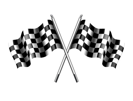 Rippled black and white crossed chequered flag