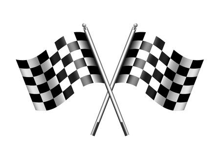 Illustration pour Checkered Chequered Flags Finish Flag - image libre de droit
