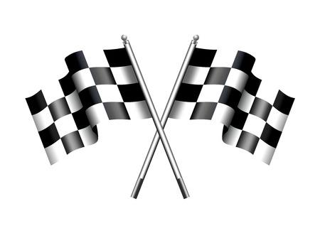 Checkered Black and White Crossed Chequered Flags