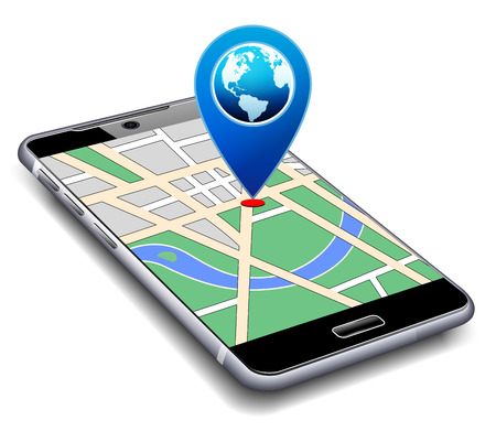 Illustration pour You are Here - Phone with Map Pointer Icon Cell Smart Mobile - image libre de droit