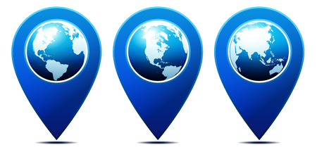 Illustration pour World pointer You are Here - Location Pointer with World Globe - image libre de droit