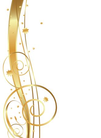Ilustración de Gold Flowing Background, swirls, twirls and stars - Imagen libre de derechos
