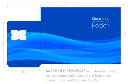 Illustration pour Presentation Folder A4 Template with Background Graphic, Cutter Guide, standard business card slot and 4mm capacity. - image libre de droit