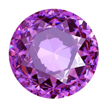 Round ruby isolated on white background. Gemstone