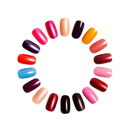 Colorful frame. Figures on nails against a white background