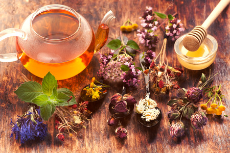 Herbal tea, herbs and flowers, herbal medicine.