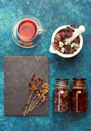 Dried herbs and herbal tea. concept herbal medicine.
