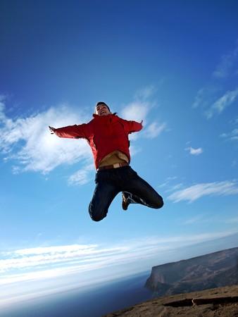 Man in sky. Emotional scene.