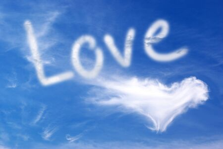 Love and heart in blue sky. Element of design.