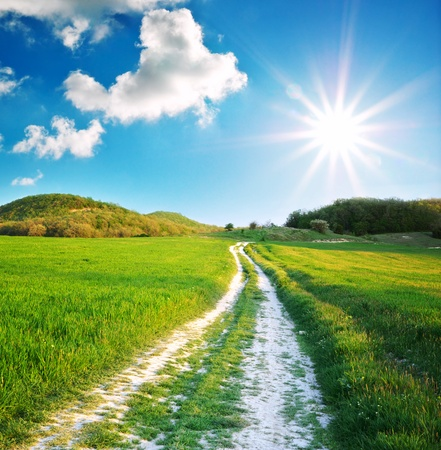 Foto de Road lane and deep blue sky. Nature design. - Imagen libre de derechos