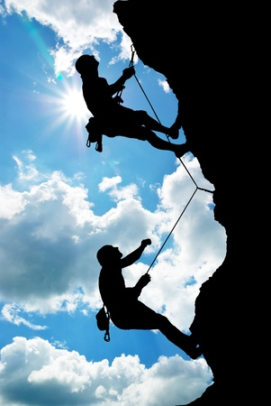 Foto de Mountain climber on the top.  - Imagen libre de derechos