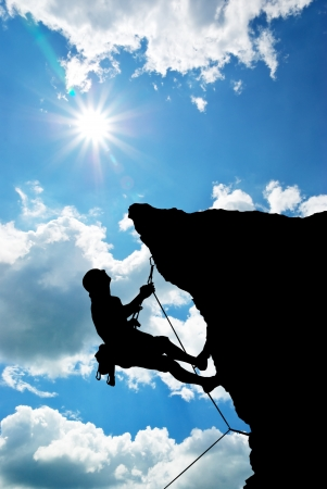 Foto per Mountain climber on the top.  - Immagine Royalty Free