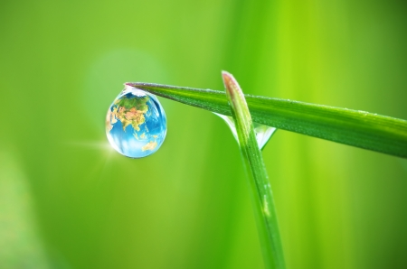 Photo pour Planet Earth in dew, macro on leaf. Conceptual design. Elements of this image furnished by NASA. - image libre de droit