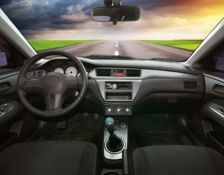Travel in car. Element of design.