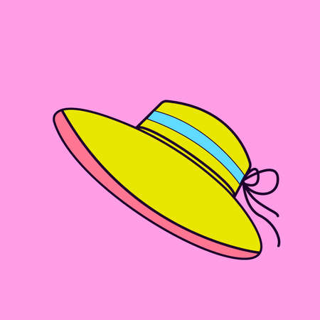 Illustration for Pop Art Style. Woman Beach Hat. Flat Colorful Icon design. - Royalty Free Image