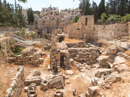 Ancient Pool of Bethesda ruins. Old City of Jerusalem, Israel.