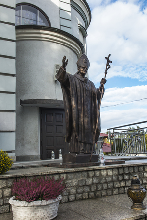 Turza Slaska, Poland, 7 October 2017: Monument of Saint John Paul II in the Sanctuary of Our Lady of Fatima in Turza Slaska in Poland
