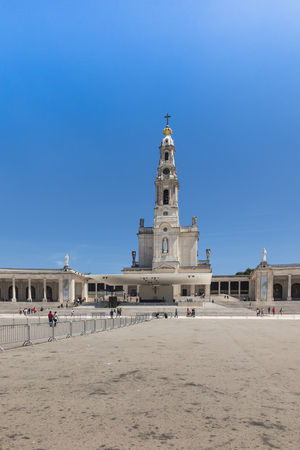Photo for Sanctuary of Fatima in Portugal. Square and Basilica of Our Lady of Fatima (Rosary) during good weather - Royalty Free Image