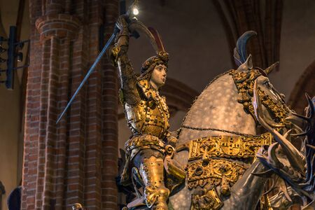 January 21, 2017: Statue of Saint George slaying the dragon in the Cathedral of Stockholm, Sweden