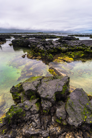 Galapagos Islands - August 26, 2017: Landscape of the Lava tunnels of Isabela Island, Galapagos Islands, Ecuador