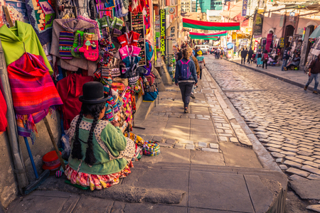 La Paz - July 24, 2017: Market streets of La Paz, Bolivia