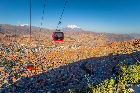 La Paz - July 26, 2017: Cable cars in a panoramic view of La Paz, Bolivia