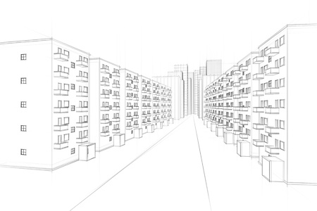 sketch of an urban residential street