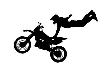 isolated motorbike jump on the white background