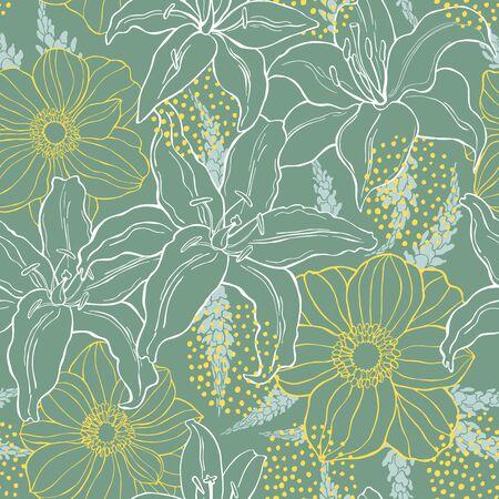 Illustration pour Floral background. Seamless vector pattern with hand drawn flowers - image libre de droit