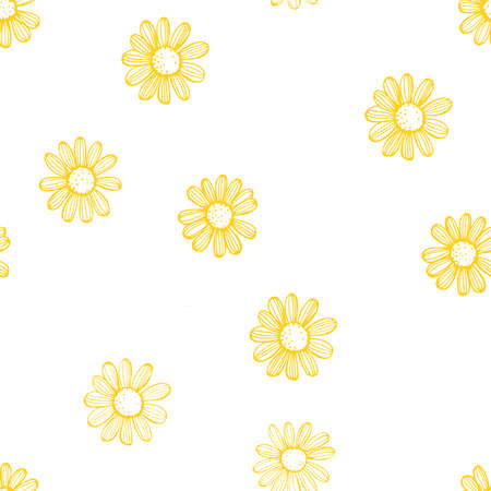 Illustration for Hand drawn chamomile flowers on white background - Royalty Free Image