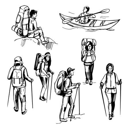 Illustration pour Hand drawn traveler with backpack. Hiking tourists. Kayak man. Vector sketch illustration. - image libre de droit