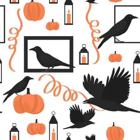 Illustration pour Halloween pattern with birds and pumpkins. - image libre de droit